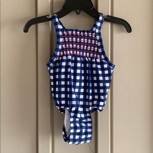 Cat & Jack One Piece Gingham Swim Suit 6-9 Months